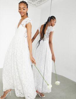 Alexandra - Kanten trouwjurk met kapmouwen en V-hals-Wit