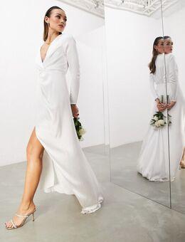 Sadie - Geplooide diepuitgesneden trouwjurk met overslag van satijn-Wit