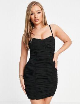 Mini jurk met camibandjes en gerimpeld korsetdetail in zwart