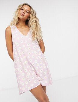 Mini aangerimpelde jurk met madeliefjesprint in roze