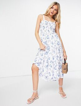 Gelaagde maxi jurk in wit met bloemenprint