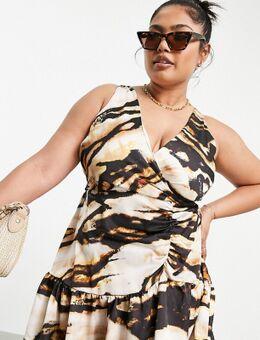 Mini jurk met ruches en uitsnijding in gemixte dierenprint-Meerkleurig