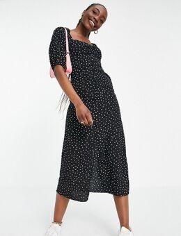 ASOS DESIGN Tall - Midi jurk met knopen en stippen in zwart-wit-Meerkleurig