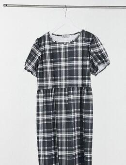 Aangerimpelde jersey jurk met ruiten-Wit