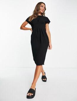 Midi jurk met ingenomen taille in zwart