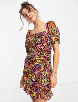 Mini-jurk met gerimpeld lijfje en bloemenprint-Meerkleurig