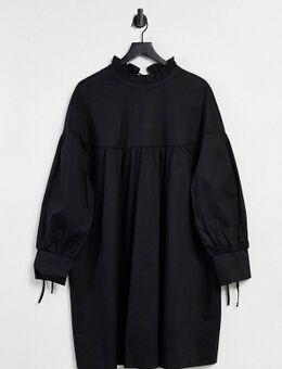 Aangerimpelde mini-jurk met stroken en gestrikte hals in zwart katoen