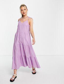Gelaagde maxi jurk in lila-Paars
