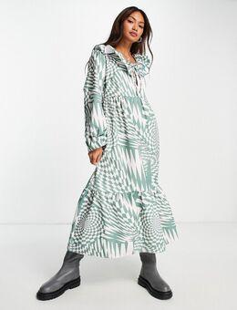 Midi-jurk met golvende dambordprint van biologisch katoen in multi-Paars