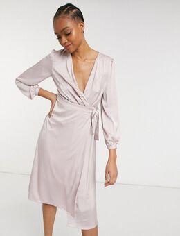 Bruidsmeisjes - Midi-jurk van satijn met lange mouwen en overslag in roze