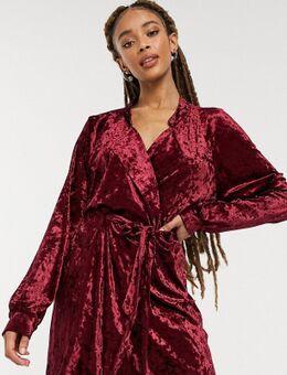 Exclusives - Fluwelen blazerjurk in bessenkleur-Rood