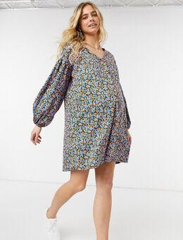 ASOS DESIGN Maternity - Mini-smockjurk met knopen en lange mouwen in oranje en blauwe bloemen