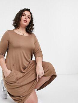 Midi-jurk met zakken in camel-Bruin