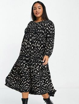 Midaxi-jurk met ballonmouwen en print in zwart en wit