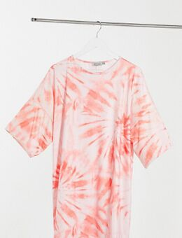Ruimvallende T-shirtjurk in tie-dye-Roze