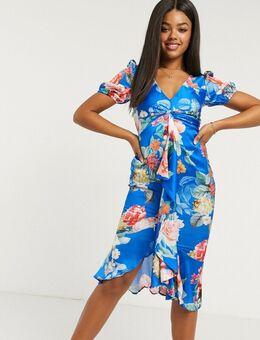 Midi-jurk met pofmouwen, ruches en kobalt bloemenprint-Multi