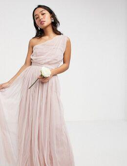 Anaya With Love Petite - Lange bruidsmeisjesjurk van tule met blote schouder in roze
