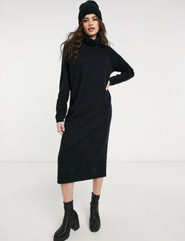 Superzachte midi jurk met zichtbare naden en gedrapeerde hals in zwart