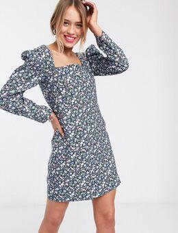 Mini-jurk met pofmouwen en opvallende gekleurde bloemenprint-Meerkleurig