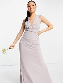 Bruidsmeisjes - Multifunctionele lange jurk in lichtgrijs
