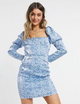 Exclusives - Mini-jurk met korsetdetail in metallic blauwe bloemenprint
