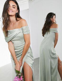 Lange satijnen bardot-jurk met overslag en drapering in saliegroen