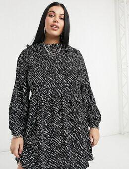 Aangerimpelde mini-jurk met lange mouwen, kraag en fijne hartjes- en stippenprint-Zwart
