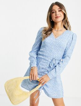 Mini-jurk met lange mouwen, gerimpelde voorkant en fijne bloemenprint-Blauw