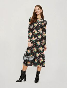 Nette midi-jurk met grote bloemenprint-Zwart