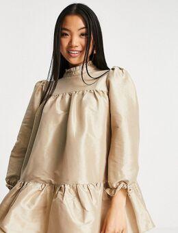 Mini babydoll-jurk met pofmouwen in goud-Veelkleurig