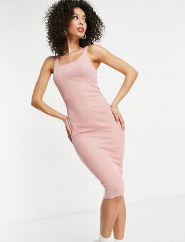 Flounce Tall - Geribbelde midi-jurk in beigeroze