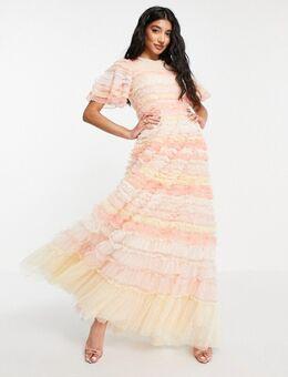 Luella - Maxi jurk met ruches en strepen in roze