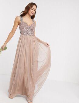 Bruidsmeisje - Lange jurk met allover contrasterende lovertjes in taupe blush-Roze