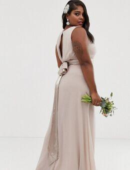 Exclusieve lange bruidsmeisjesjurk met strik op de achterkant in mink-Roze
