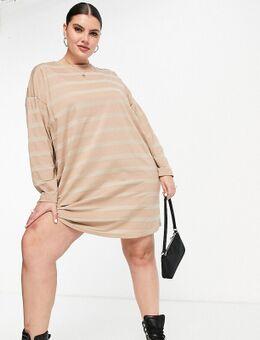 ASOS DESIGN Curve - Oversized T-shirt met lange mouwen in taupe met strepen in kleurschakering-Bruin