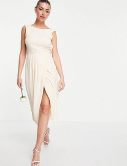 Bruidsmeisjes - Midi-jurk met gedrapeerde achterkant en split in licht beigeroze-Wit
