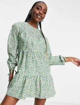 Katoenen mini-jurk met lange mouwen in fijne bloemenprint-Groen