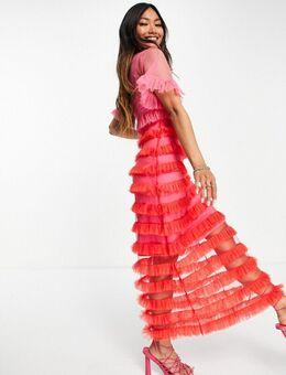 Mini jurk met ruches in contrasterend roze en rood-Veelkleurig