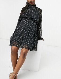 ASOS DESIGN Maternity - Hoogsluitende mini-jurk van jacquard chiffon met strikdetail-Zwart