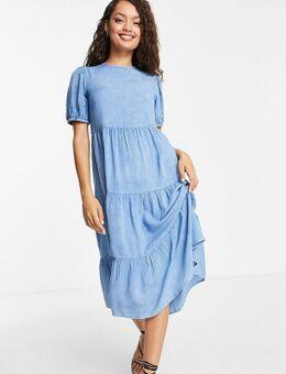 Gelaagde midi jurk van chambray-Blauw