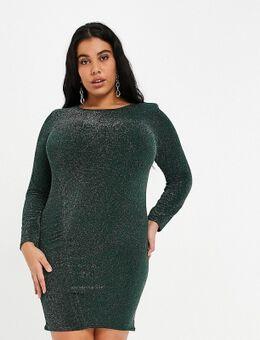 Glitterende gerimpelde mini jurk met schoudervullingen in smaragdgroen