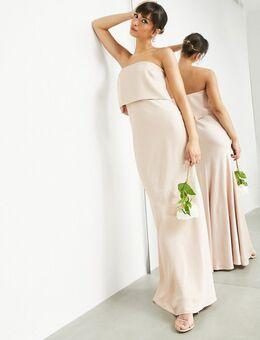 Lange satijnen strapless jurk in caramel-Neutraal