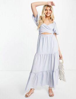 Lange jurk met pofmouwen, stroken en gestrikte achterkant in blauw