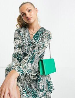 Mini-jurk met chiffonmouwen en print-Veelkleurig