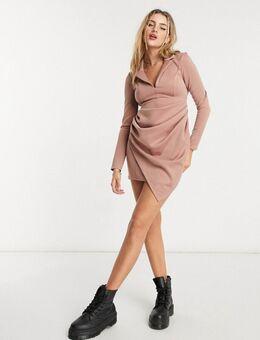 Mini-jurk met lange mouwen, drapering en overhemd met rimpeleffect in nertskleur-Meerkleurig