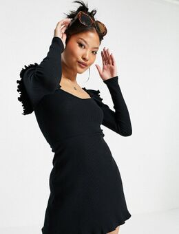 Mini sweaterjurk met capuchon in zwart