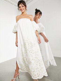 Midi jurk met blote schouders en borduursels in dezelfde tint in ivoorwit