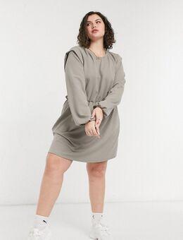 Jersey mini-jurk met schoudervullingen in grijs-Meerkleurig