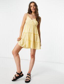 Geruite cami jurk in geel