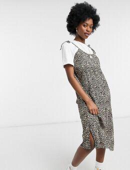 Geplisseerde 2-in-1 midi-jurk met luipaardprint en T-shirt-Bruin